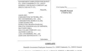 GEICO Suit Alleges Fraudulent Glass Repair Scheme in Florida