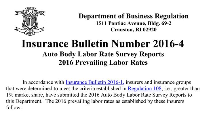 2016 Rhode Island Collision Repair labor rates