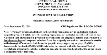 Amendments Published to California's Proposed Collision Repair Labor Rate and Anti-Steering Regulation