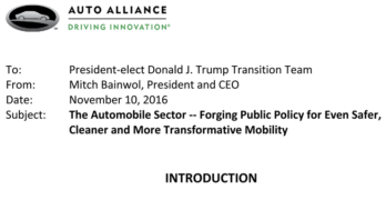 Auto Alliance Calls on Trump Transition Team to Re-evaluate EPA Fuel Economy Requirements