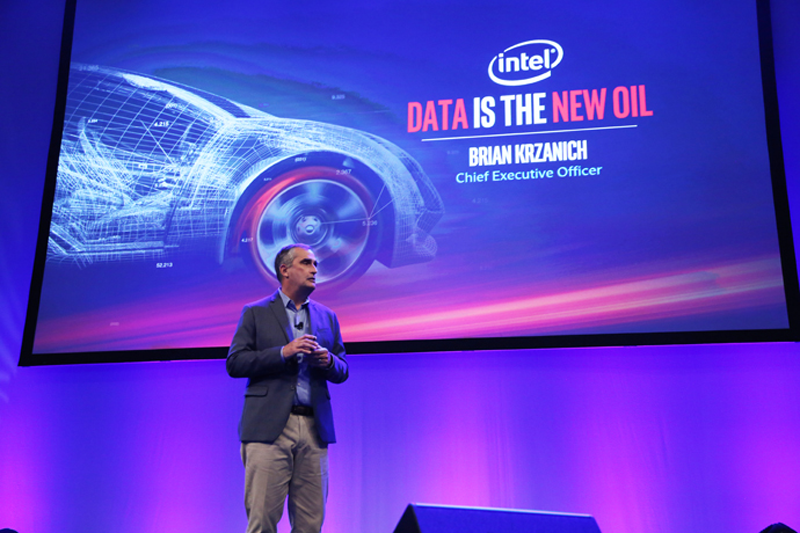 Brian Krzanich, Intel Corporation CEO, presents a keynote address at the Automobility LA conference on Tuesday, Nov. 15, 2016. Addressing automotive and technology industry representatives, Krzanich talks about how the automotive industry is on the cusp of a major transformation, demanding unprecedented levels of computing, intelligence and connectivity.