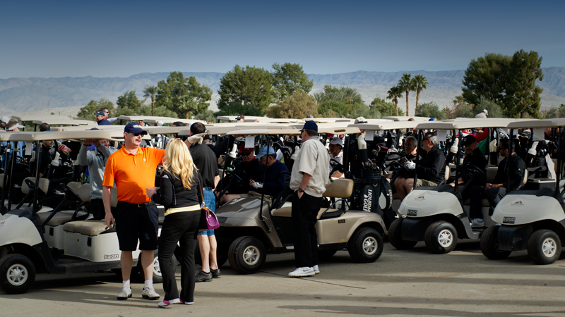 Golfers prepare for the shotgun start at this year's NABC Golf Outing that was held in Palm Springs, Calif. in January. Registration is now open for next year's outing being held Wednesday, January 11, 2017.