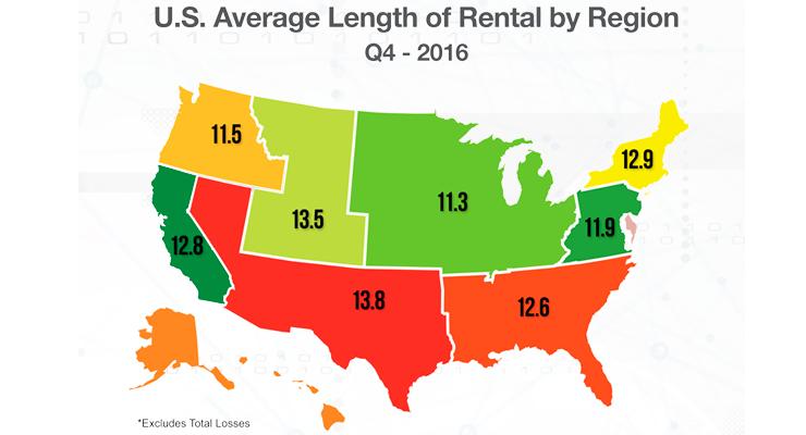 Collision Repair Length of Rental Regional Map