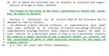Legislation to Eliminate Insurance Company Vendor Requirements Reintroduced in New York