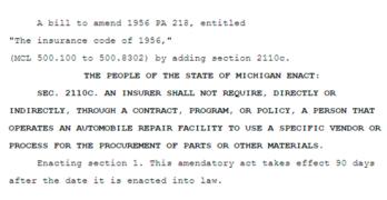 Michigan Senate Bill Reintroduced to Eliminate Insurance Company Collision Repair Part Process Mandates