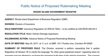 Rhode Island to Hold Meeting on  Auto Damage Appraiser Regulations