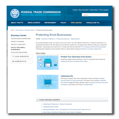 FTC cyber security web page