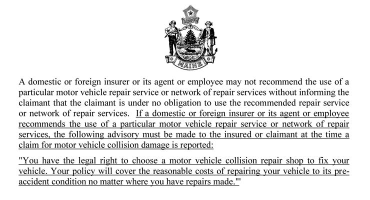 Maine LD1540 Collision Repair Anti-Steering Bill Vetoed