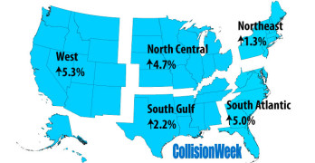 CollisionWeek August 2015 U.S. Vehicle Miles Traveled Regional Map