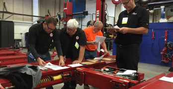"Nearly 100 people worked toward Automotive Lift Institute (ALI) Lift Inspector Certification during the ""Five Days to Victory"" event held in Las Vegas Nov. 1-5."