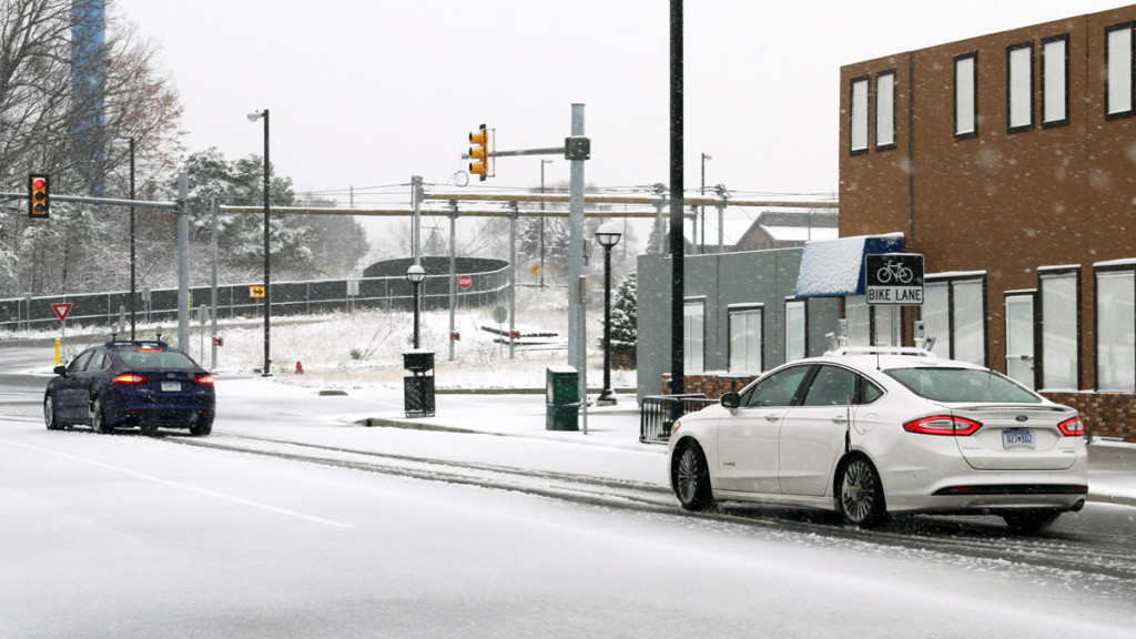 Ford is testing autonomous vehicles in snow covered environments.