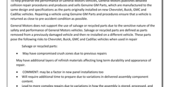 Automotive Recyclers Question General Motors Position Statement on Recycled Parts