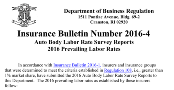 2016 Rhode Island Collision Repair labor rates