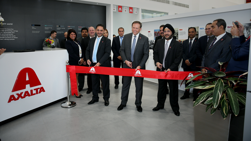 Charlie Shaver, Axalta Chairman and CEO (center), Sobers Sethi, Axalta Vice President, South and East Asia and Middle East and North Africa (MENA) Region (right), and Fadi Medlej, Axalta Managing Director of MENA (left) and others open Axalta MENA Regional Office in Dubai.