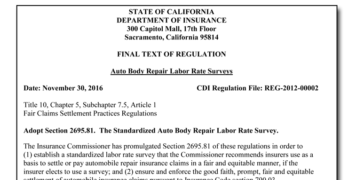California Insurance Department Publishes Final Auto Body Labor Rate Survey Regulation