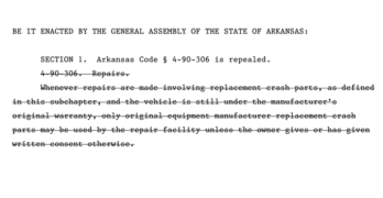 Arkansas Bill Seeking to Eliminate OEM Collision Repair Parts Requirement Approved By Senate