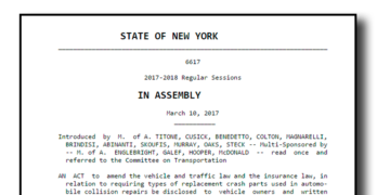 New York Assembly Bill Seeks Signed Non-OEM Collision Repair Parts Disclosure