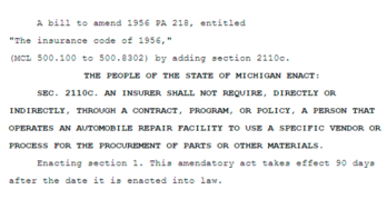 Michigan Senate Bill Reintroduced to Eliminate Insurance Company Collision Repair Part Process Mandates