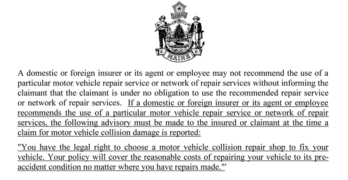 Maine LD1540 Collision Repair Anti-Steering Bill Vetoed