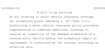Insurance Group Calls on Florida Senate Insurance Committee to Approve Auto Glass Assignment of Benefits Legislation