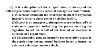 Indiana House Insurance Committee Amends and Approves Legislation Defining Deceptive Collision Repair Practices