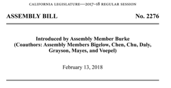 California 2018 Assembly Bill 2276