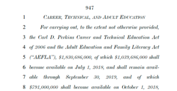 Federal Spending Bill Expands Support for Career and Technical Education, Apprenticeships, Veteran's Training