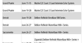 Valspar Summer 2018 Training Schedule