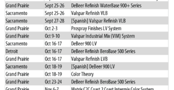 2018 Fall Valspar Training Schedule