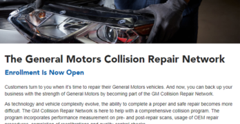 GM Launches New Collision Repair Network