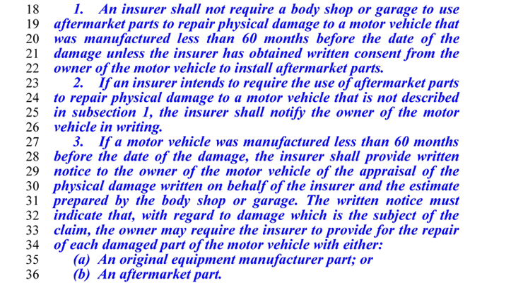 Nevada Revised Statutes >> Nevada Non-OEM Collision Repair Parts Bill Scheduled for Hearing March 1 - CollisionWeek