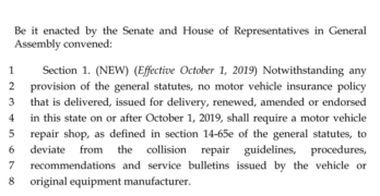 Connecticut Legislation Would Require OEM Collision Repair Procedures