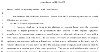 New Hampshire OEM Collision Repair Procedures Bill