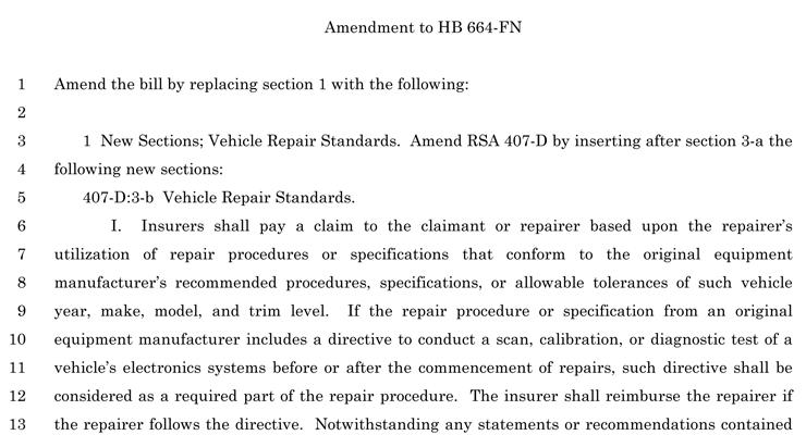 New Hampshire OEM Collision Repair Procedures Bill