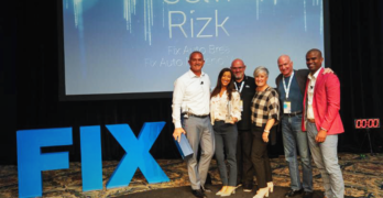 Franchise Partner-of-the-Year Selvi Rizk pictured with Fix Auto USA executives and past recipients. From left to right: Paul Gange (President and CEO), Selvi Rizk, Peter Reszczynski (2017), Mary Oliver-Springer (2018), Steve Springer (2018), and Landon Thompson (Fix Auto USA Vice President of Operations