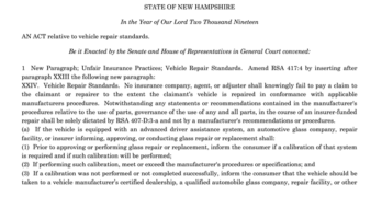 New Hampshire OEM Collision Repair Procedures HB 664