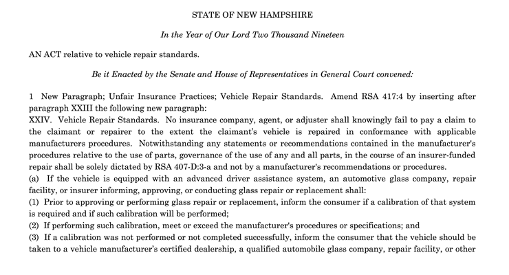 New Hampshire OEM Collision Repair Procedures HB 664