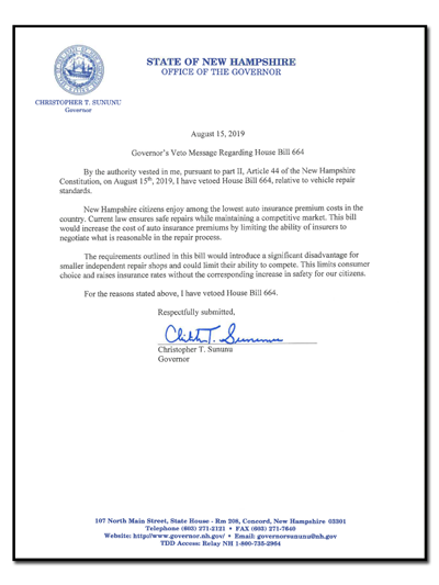 NH HB664 veto message