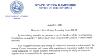 New Hampshire Governor Vetoes OEM Collision Repair Procedure Bill