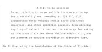 Florida Auto Glass legislation