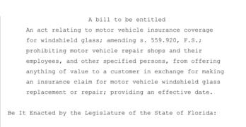 Florida Auto Glass legislation