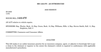 New Hampshire OEM Collision Repair Procedures Legislation