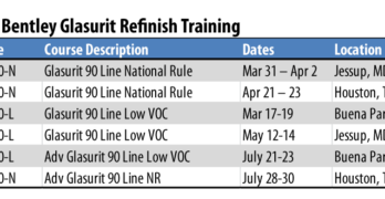 Bentley Glasurit Refinish Training Schedule 2020