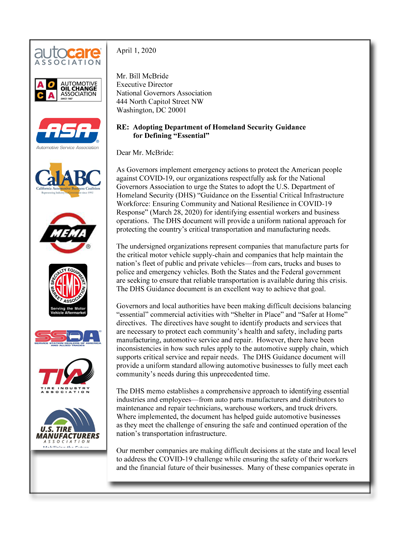 Auto Group Letter to NGA