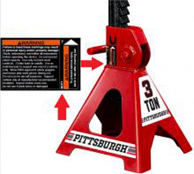 Jack stand with arrow pointing to number locator