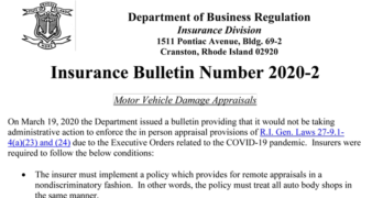 Rhode Island Insurance Bulletin 2020-2