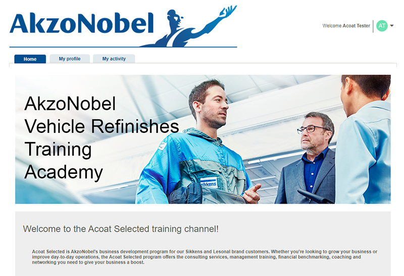 AkzoNobel Acoat Selected Digital Training Platform