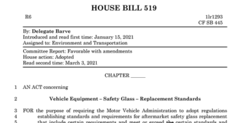 Maryland Enacts Revised Auto Glass Safety Law