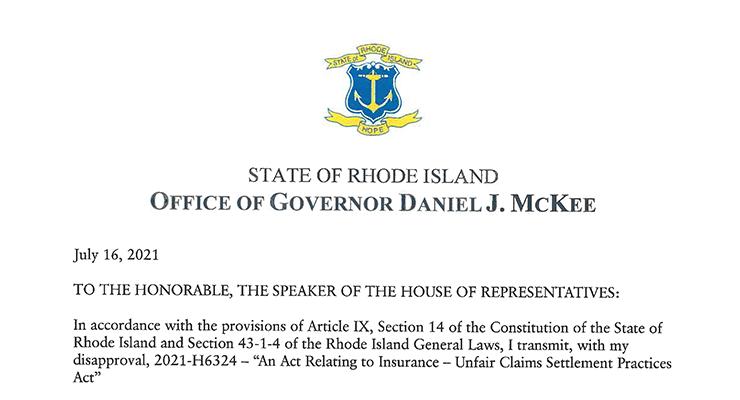 Rhode Island Governor Vetoes Collision Repair Legislation