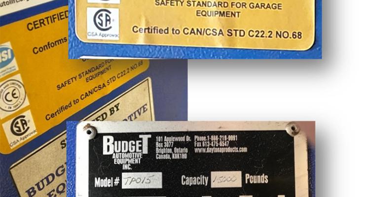 Budget Automotive Equipment label
